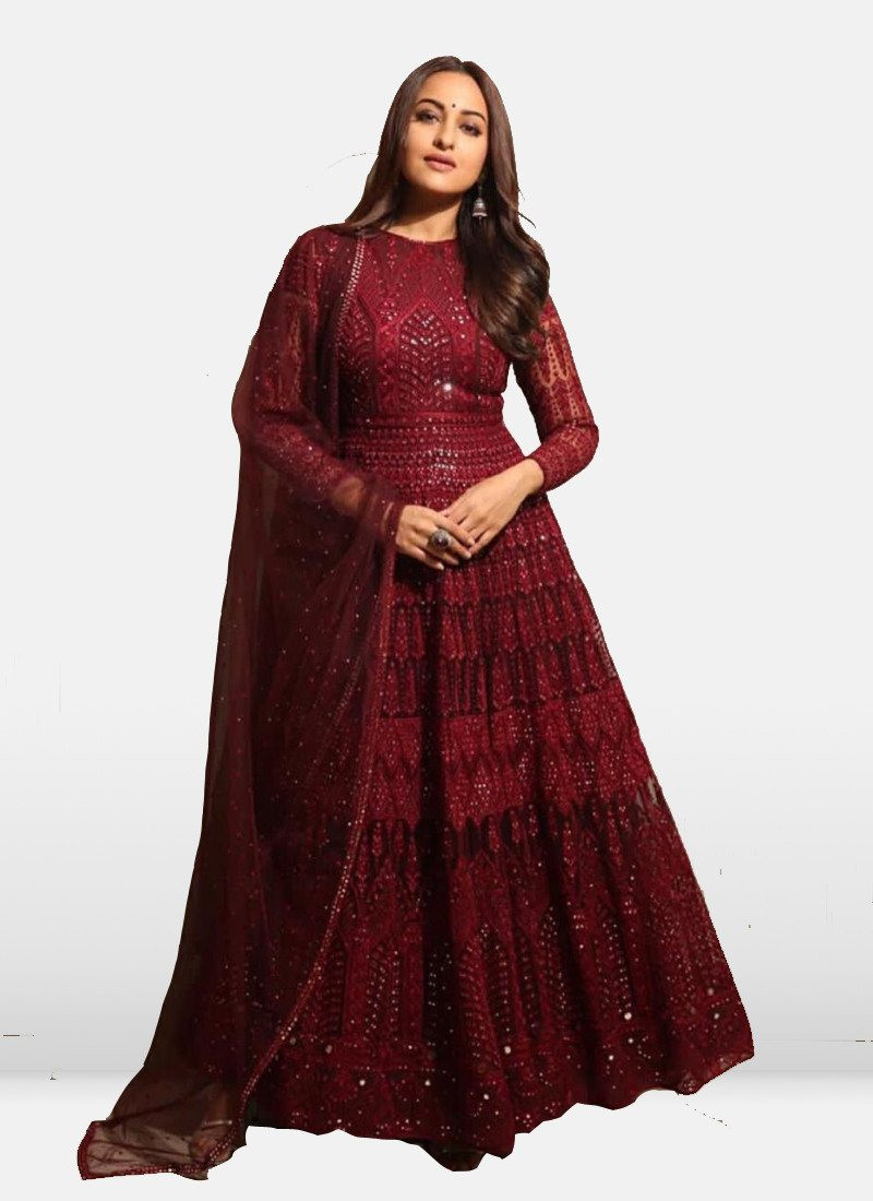 Shop Sonakshi Sinha Red Embroidered Floor Length Bollywood Anarkali Suit Online from YOYO Fashion