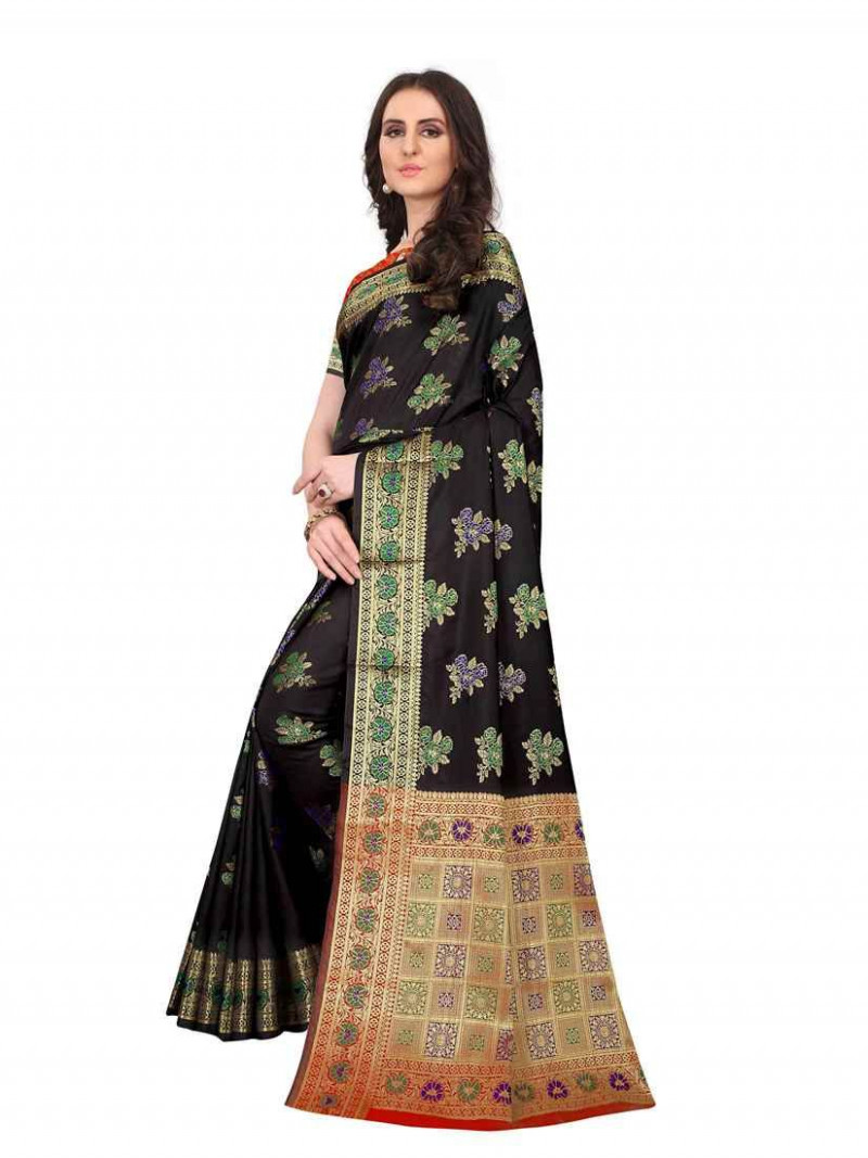 Black Traditional South Indian Silk Saree