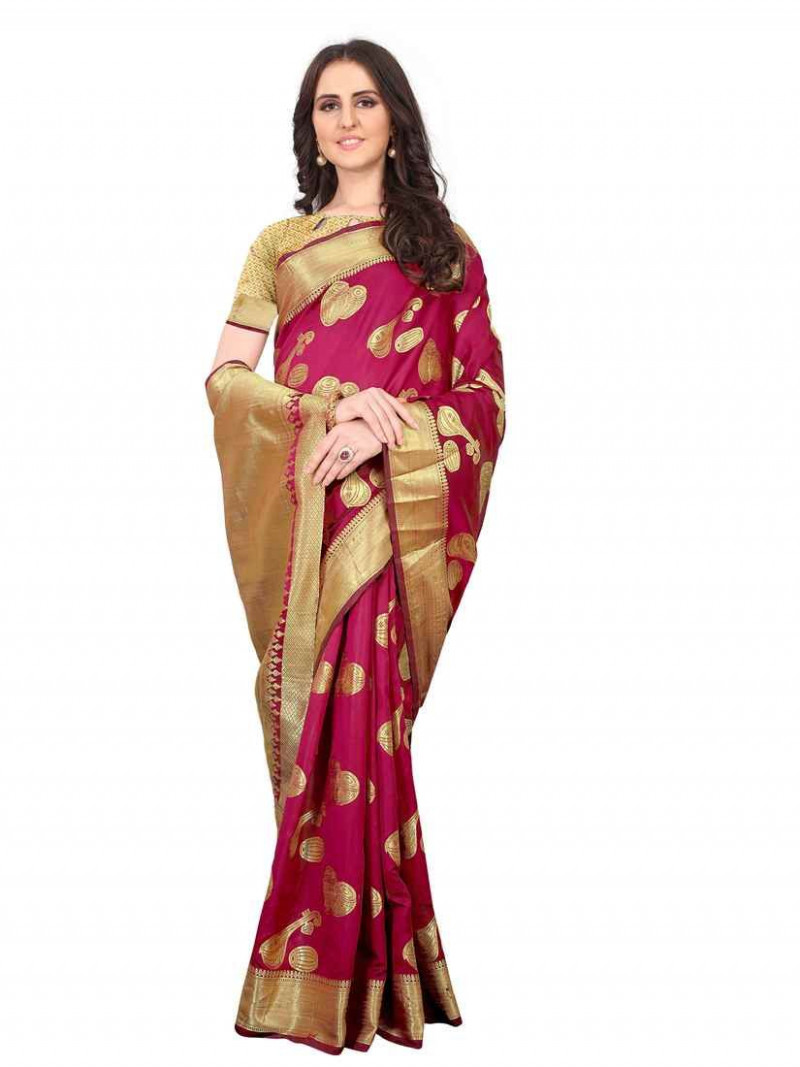 Rani Pink Pure Chanderi Silk Saree