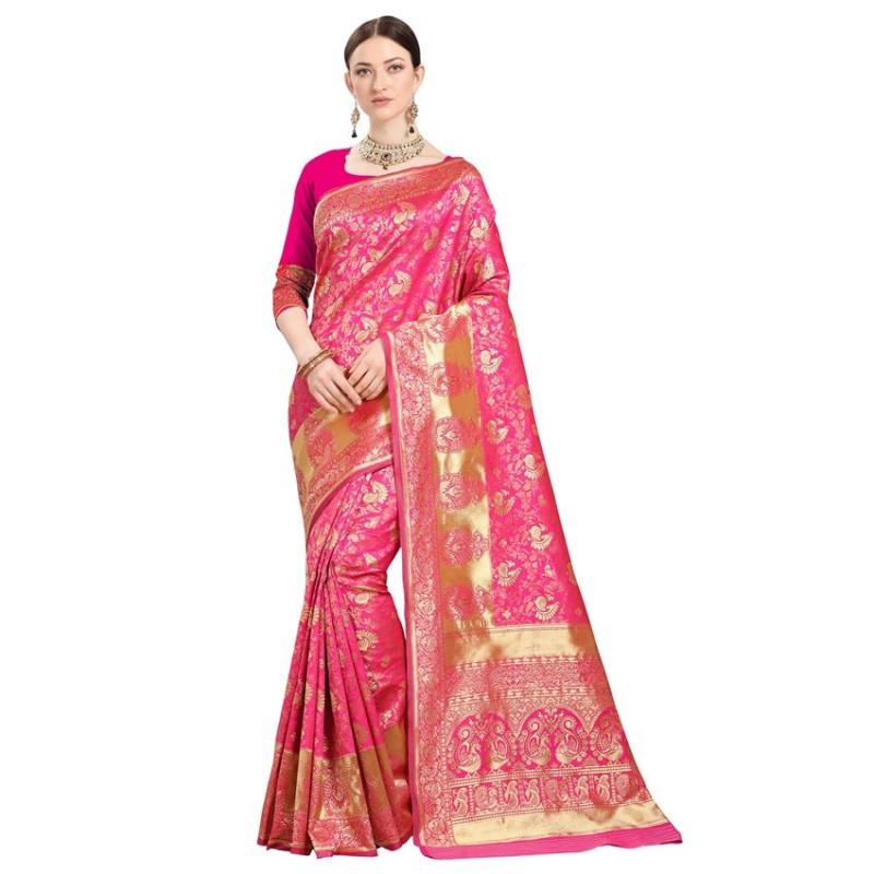 Buy Pink Woven Kanjeevaram Silk Saree Online from YOYO Fashion