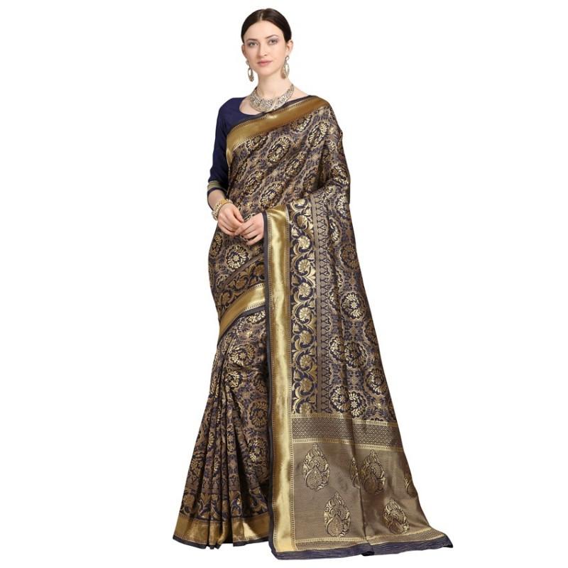 Buy Blue Designer Banarasi Silk Saree Online from YOYO Fashion