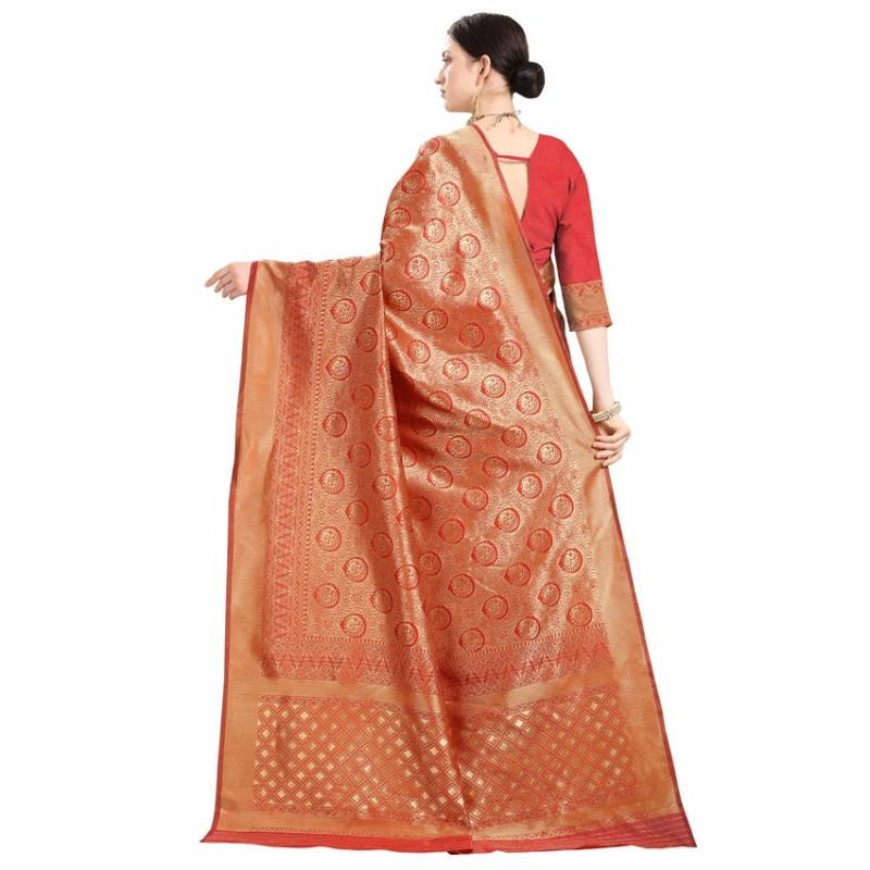Red and Gold Woven Design Banarasi Saree