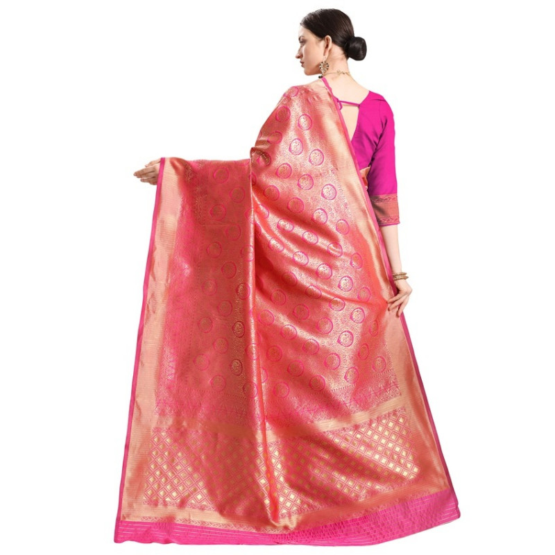Pink and Gold Woven Design Banarasi Saree