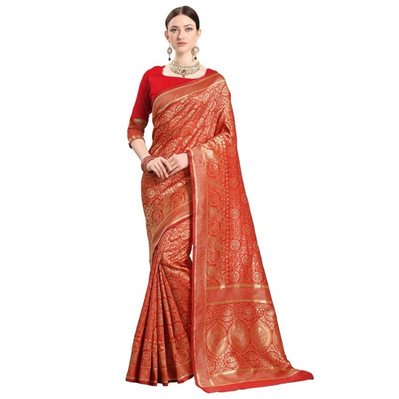 Buy Red and Gold Woven Designer Kanjivaram Saree Online from YOYO Fashion