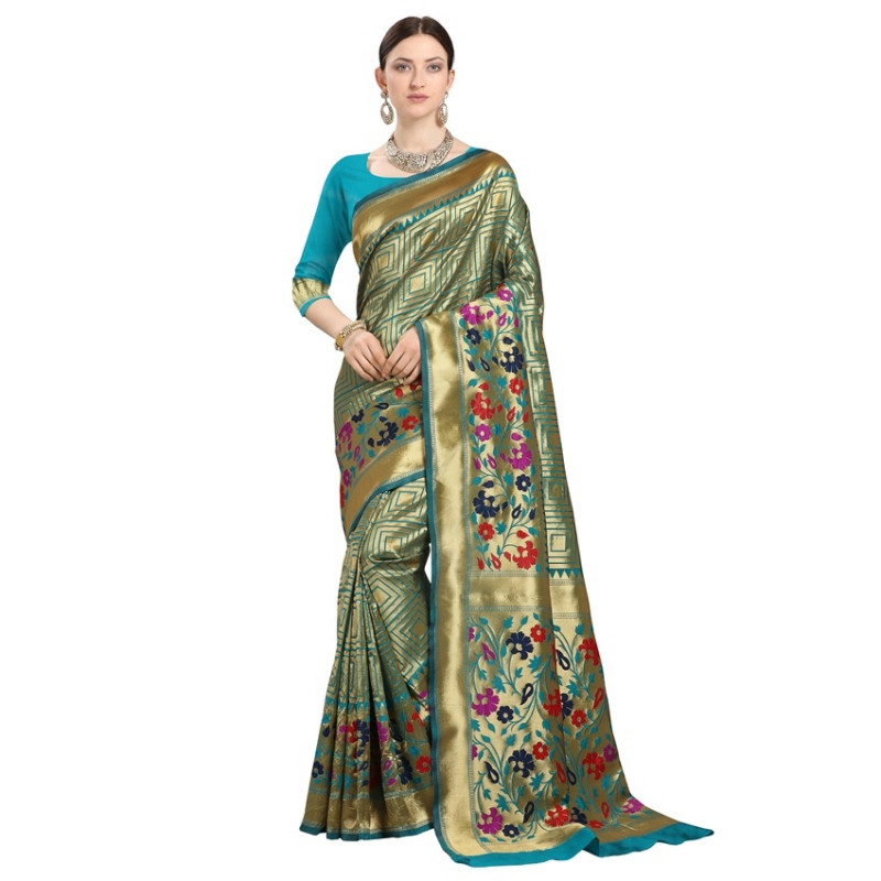 Buy Sky Blue Checked Designer Banarasi Saree Online from YOYO Fashion