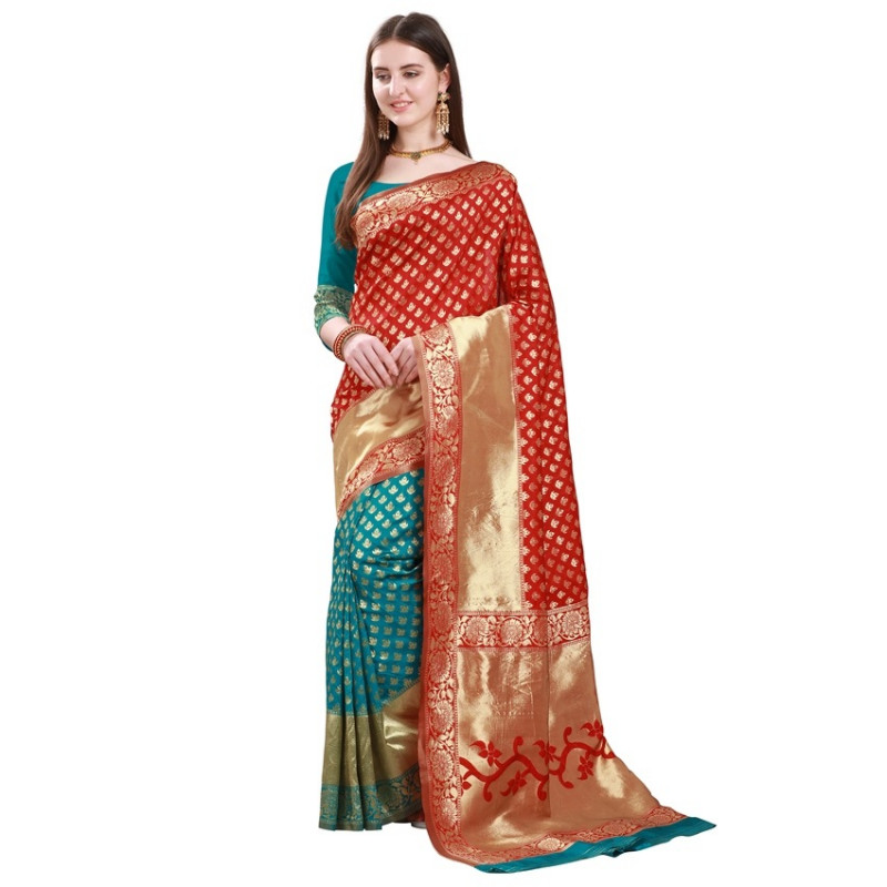Buy Red and Turquoise Woven Design Half and Half Banarasi Silk Saree Online from YOYO Fashion