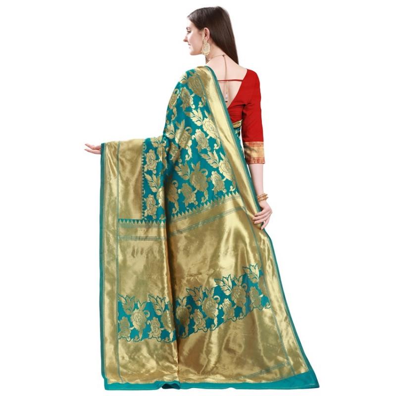 Rama and Red Gold Toned Half and Half Silk Saree