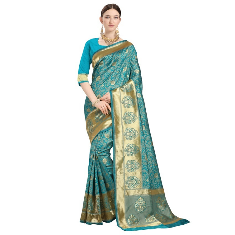 Buy Turquoise Floral Woven Designer Banarasi Saree Online from YOYO Fashion