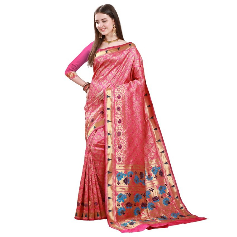 Buy Pink Woven Design Pure Banarasi Saree Online from YOYO Fashion