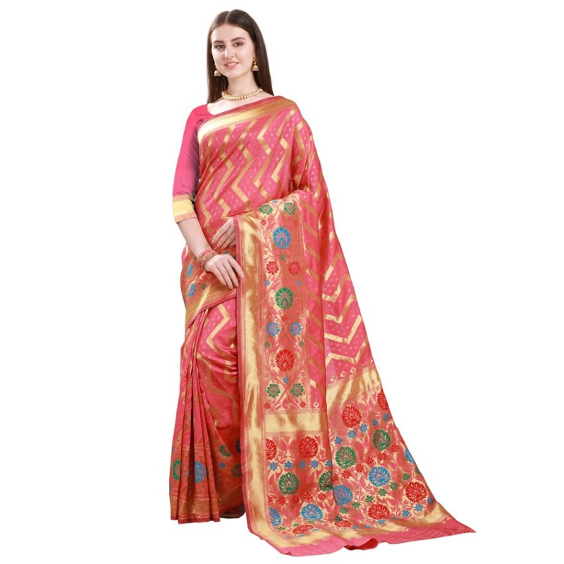 Buy Red and Gold Striped Art Silk Saree Online from YOYO Fashion