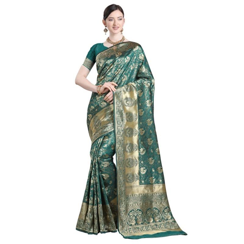 Rama Peacock  Woven Designer Silk Saree
