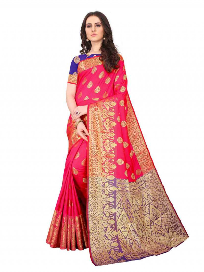 Pink Gold Woven Border Art Silk Saree