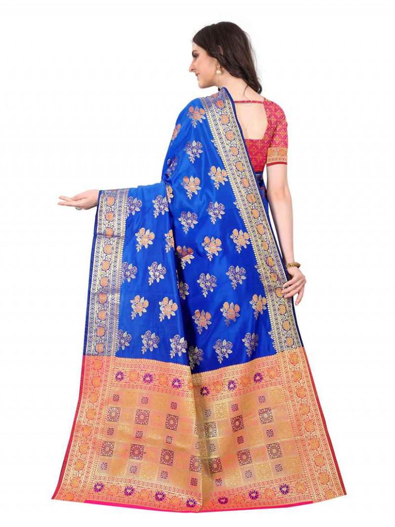 Blue Traditional Soft Silk Saree