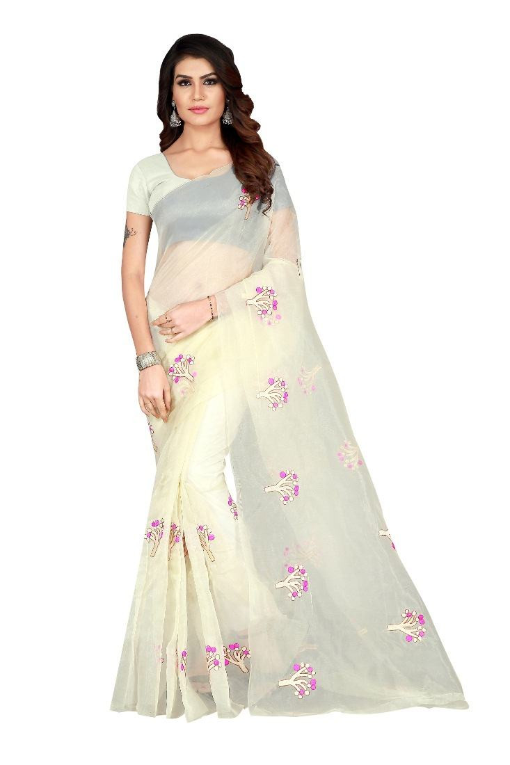 Off White Embroidered Orgenza Saree