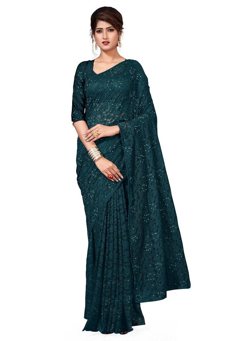 Buy Green Self Design Net Saree Online from YOYO Fashion