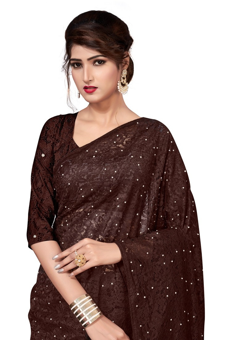 Brown Self Design Net Saree