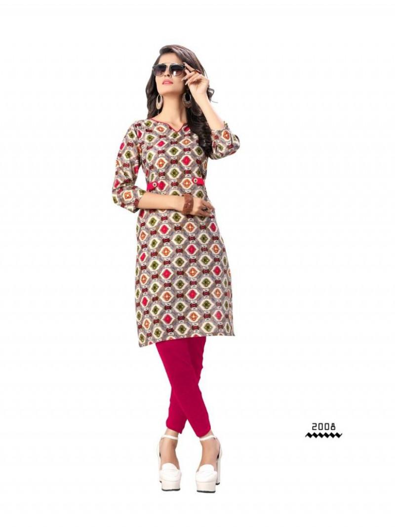 Buy Grey Printed Pure Cotton Kurti Online from YOYO Fashion
