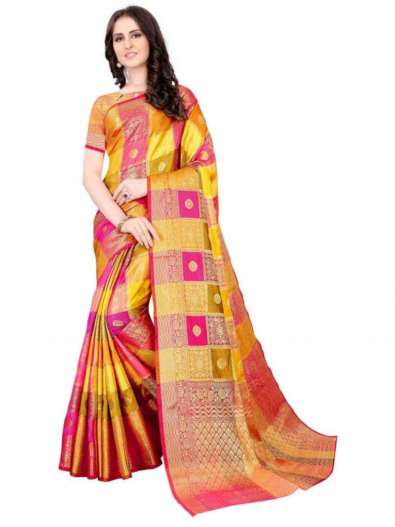 Golden and Pink Soft Silk Saree