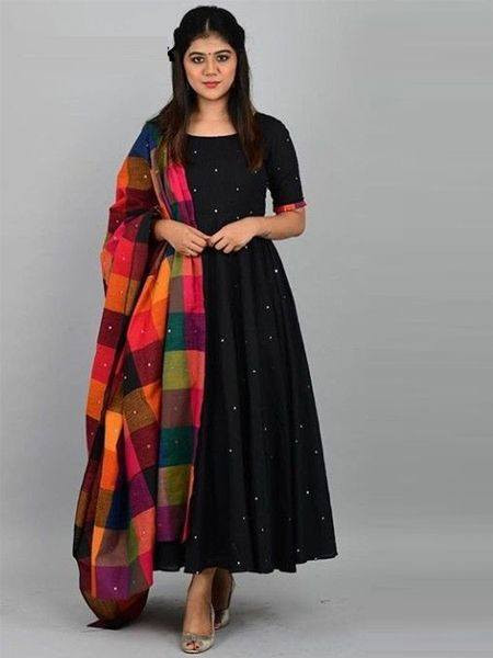 Designer Black Rayon Anarkali Kurti - YOYO Fashion