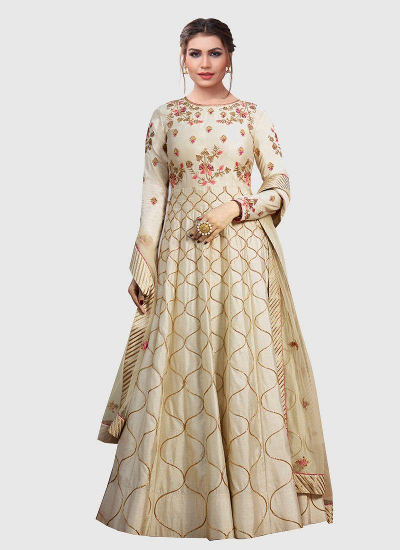 Purchase Latest Designer Womens Beige Long Silk Pakistani Anarkali Dress Online