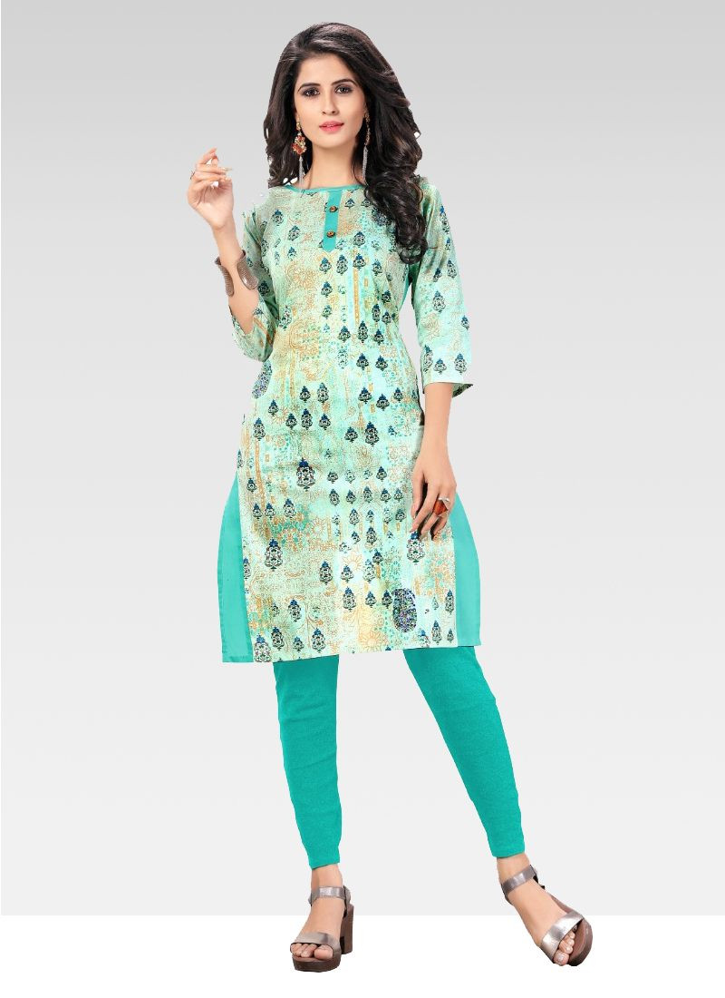 Turquoise Printed Cotton Short Kurti