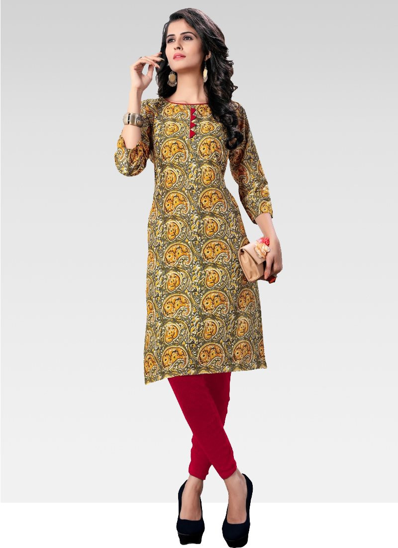 Green and Golden Simple Cotton Printed Kurti