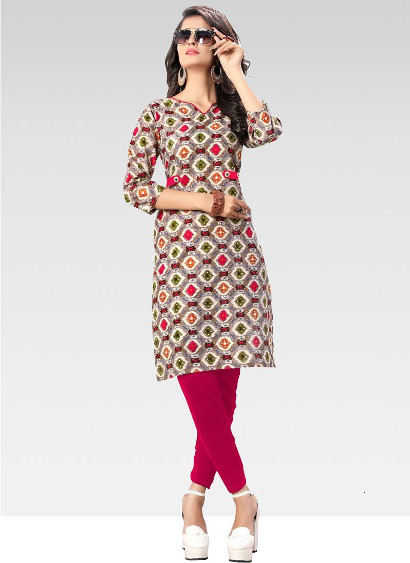 Grey Printed Pure Cotton Kurti