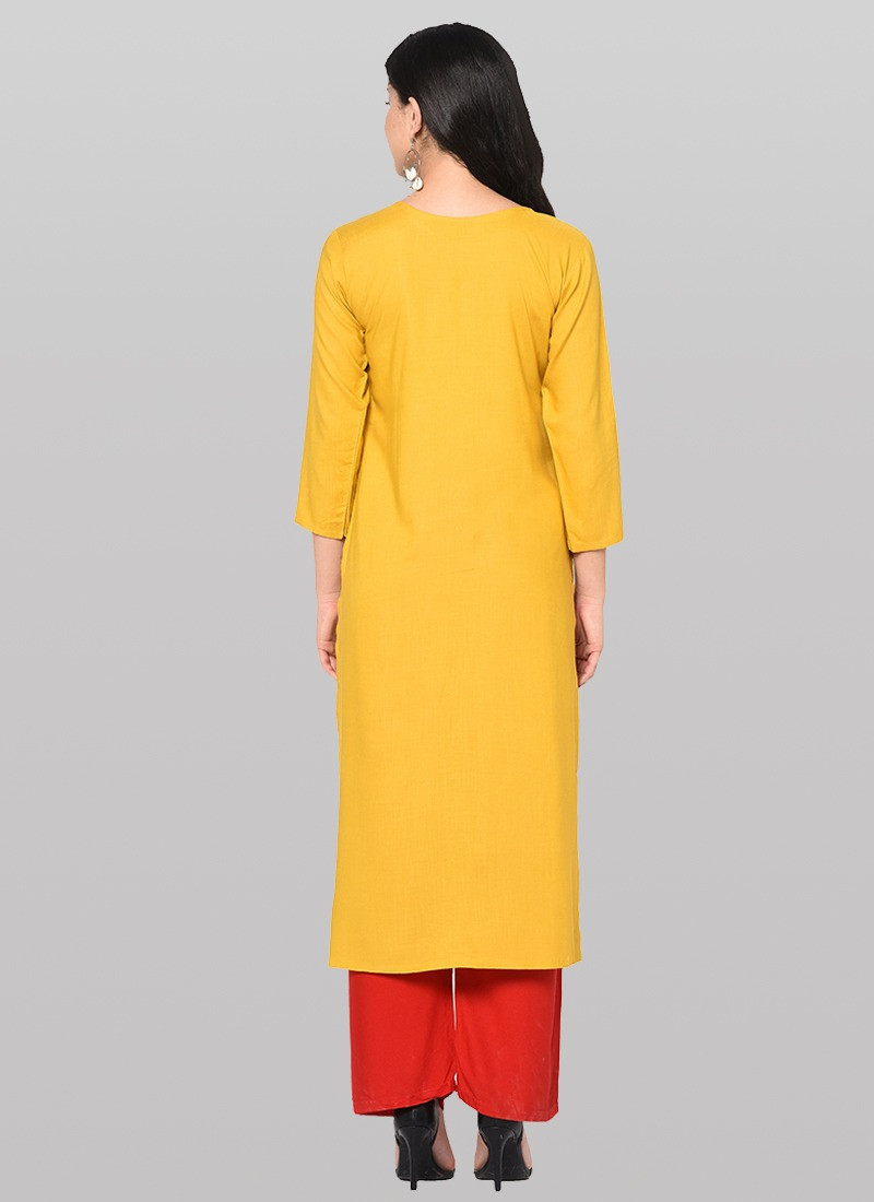 Yellow Designer Cotton Long Kurti Plazo