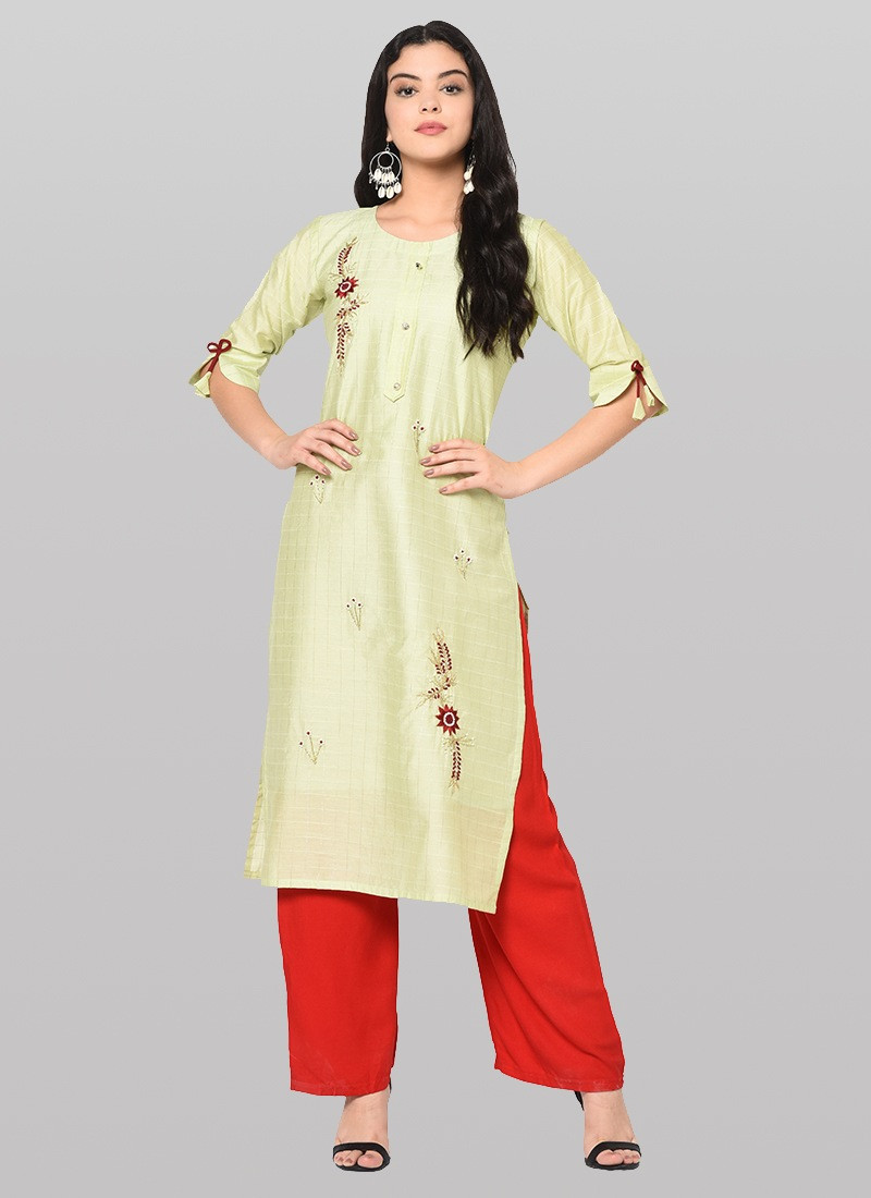 Lemon Yellow Long Cotton Kurti Plazo