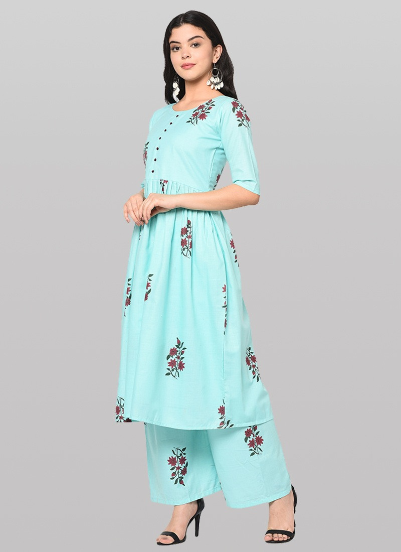 Sky Blue Long Cotton Kurti with Plazo