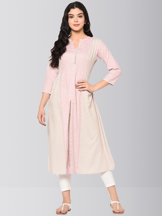 Light Pink and Beige Long Cotton Anarkali Kurti