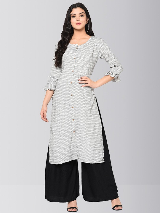 Grey Printed Cotton Kurti Plazo