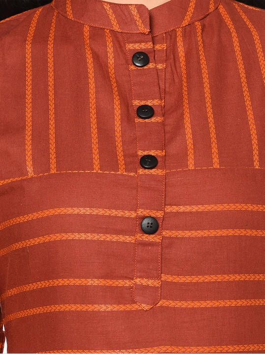 Brown Striped Long Cotton Kurti Plazo