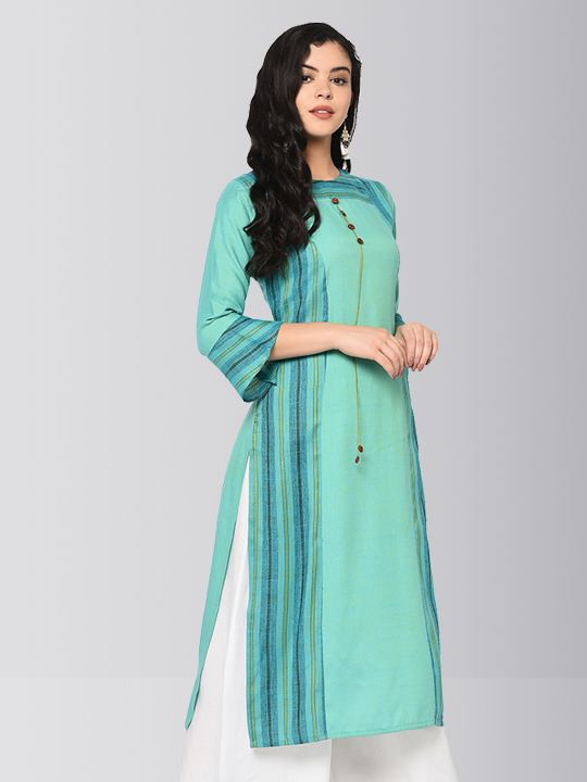 Turquoise Printed Long Cotton Kurti Plazo