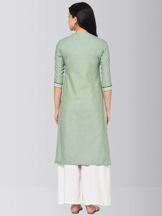 Light Green Printed Cotton Kurti Palazzo
