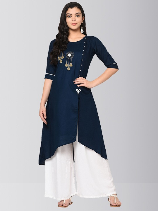 Navy Blue Embroidered Asymmetric Kurti with Plazo