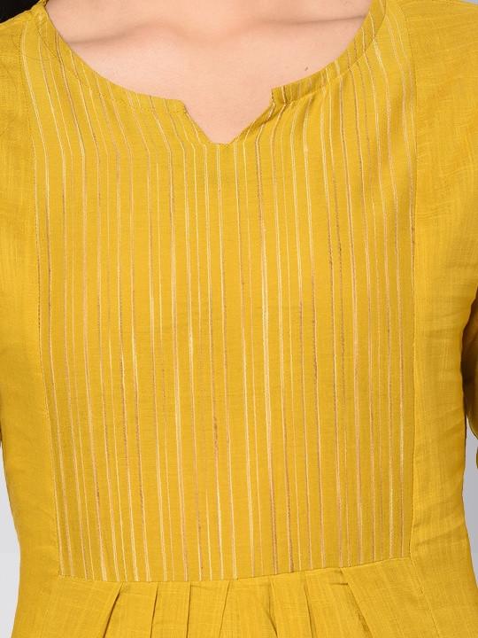 Plain Yellow Anarkali Kurti Plazo