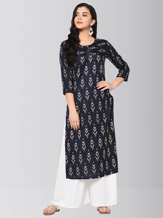 Navy Blue Cotton Ikkat Long Kurti Plazo