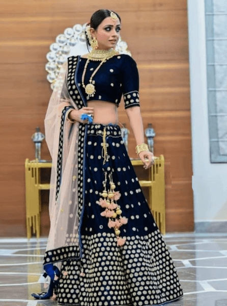 Buy Designer Wedding Bridal Wear Blue Velvet lehenga Choli Online from YOYO Fashion