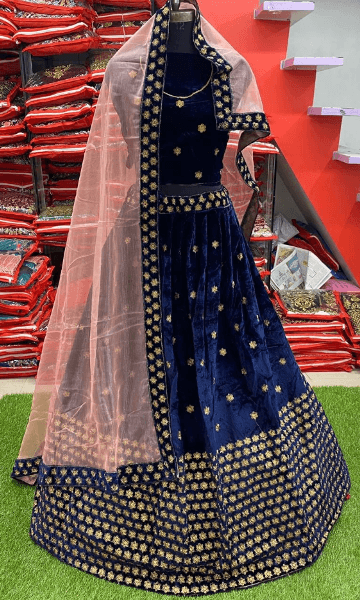 Designer Wedding Bridal Wear Blue Velvet lehenga Choli