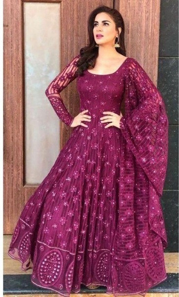 Buy Shraddha Arya Purple Georgette Anarkali Party Wear Suit Online from YOYO Fashion