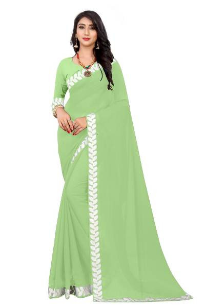 Buy Plain Pista Green Georgette Saree with Lace Border Online from YOYO Fashion