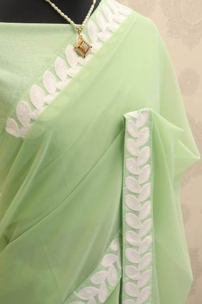 Plain Pista Green Georgette Saree with Lace Border