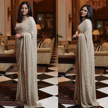 Buy Isha Ambani Sabyasachi Designer Beige Full Sequins Saree Online from YOYO Fashion