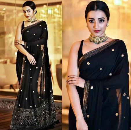 Buy Designer Partywear Black Saree with Golden Border Online from YOYO Fashion