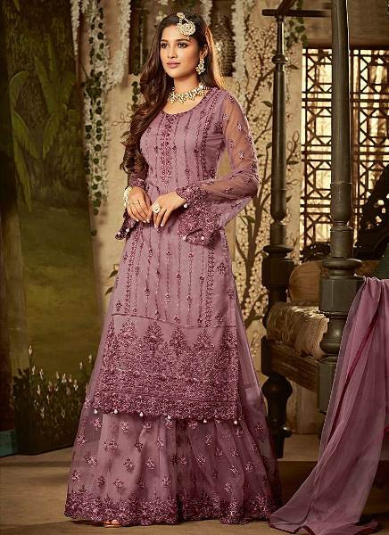 Buy Purple Embroidered Designer Sharara Suit Online from YOYO Fashion