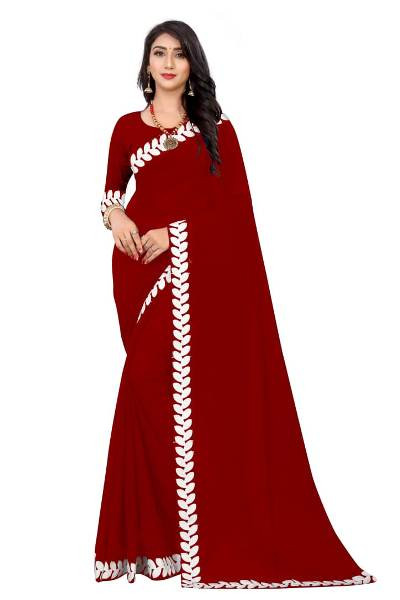 Buy Maroon Georgette Lace Border Plain Saree Online from YOYO Fashion