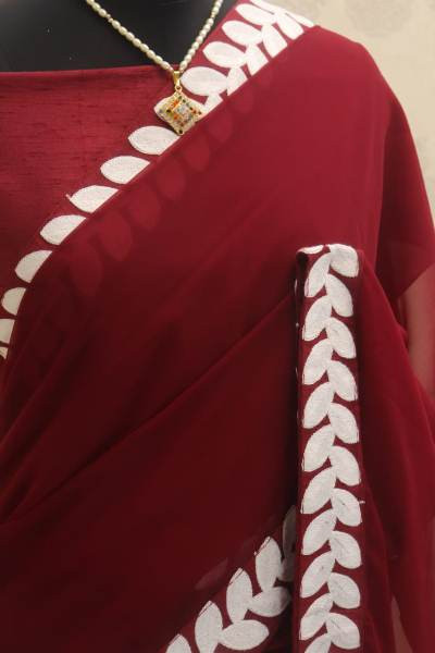 Maroon Georgette Lace Border Plain Saree