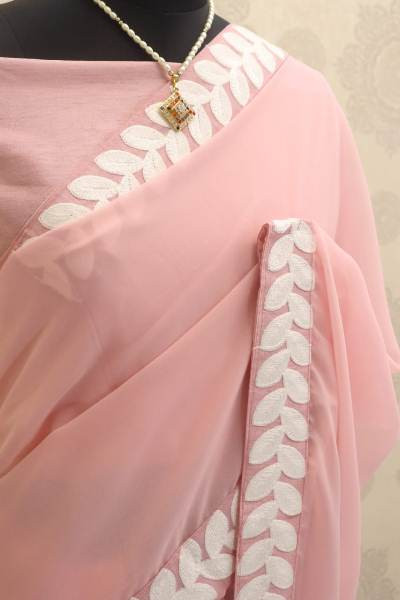 Baby Pink Plain Georgette Saree with Lace Border