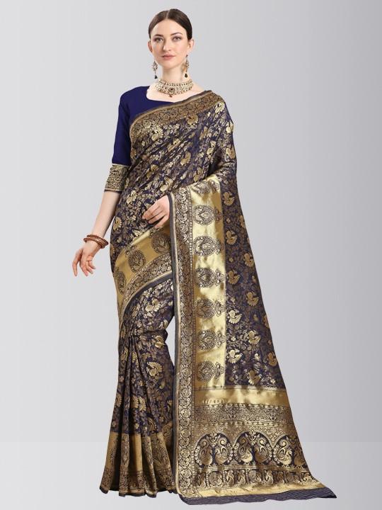 Ladies Navy Blue Silk Saree with Golden Border